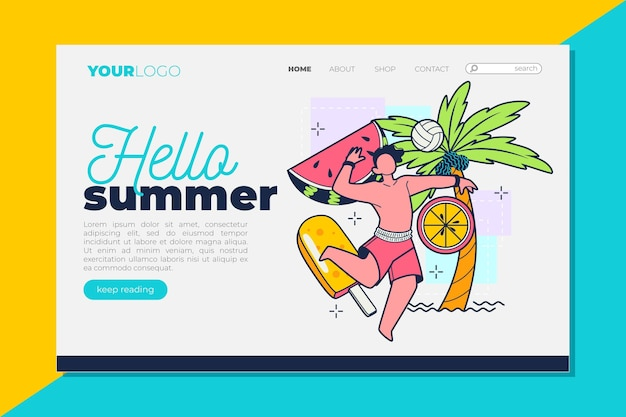 Hello summer landing page with man having fun