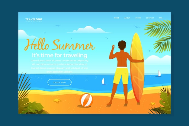 Hello summer landing page with man and surfboard