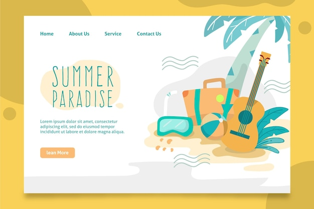 Hello summer landing page with palm tree and guitar