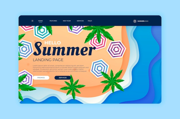 Hello summer landing page with palm trees and umbrellas