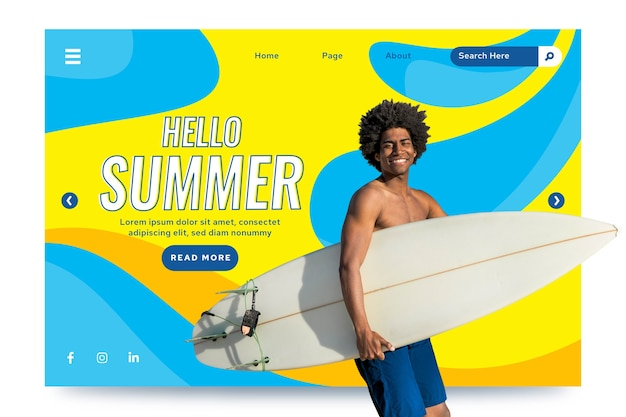 Hello summer landing page with pic