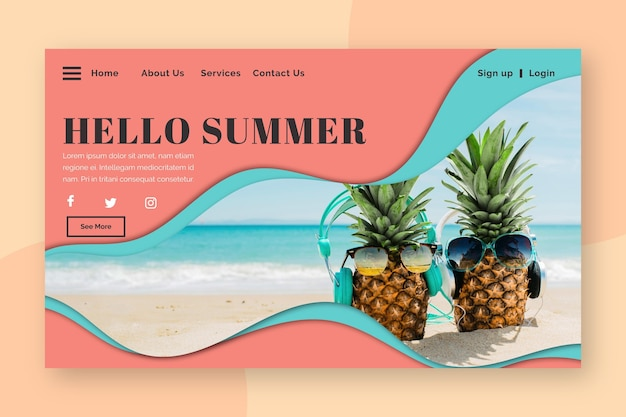 Hello summer landing page with pineapples on beach