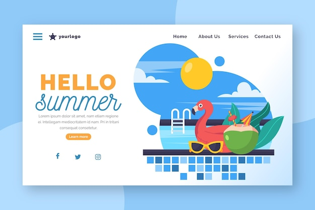 Hello summer landing page with pool and flamingo