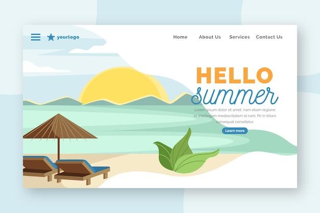Hello summer landing page with resort beach