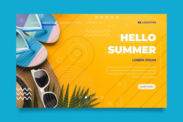 Hello summer landing page with sunglasses and hat
