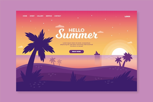 Hello summer landing page with sunset on beach