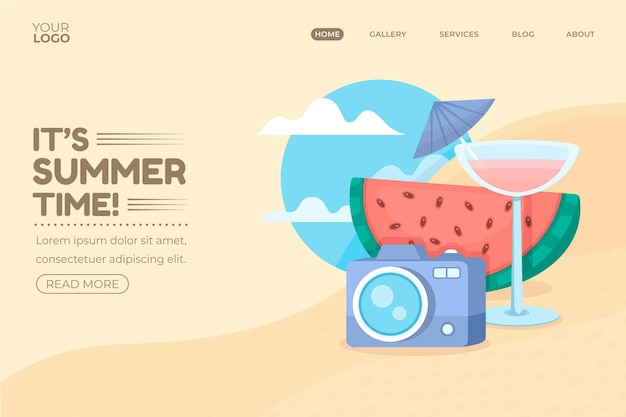 Hello summer landing page with watermelon and cocktail