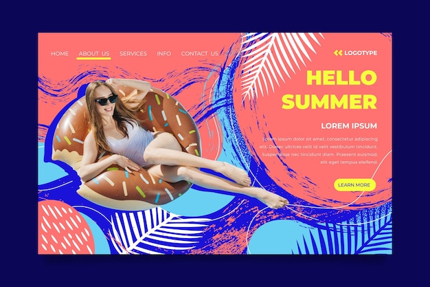 Hello summer landing page with woman and leaves