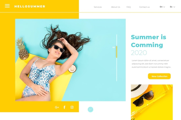 Hello summer landing page with woman at the pool