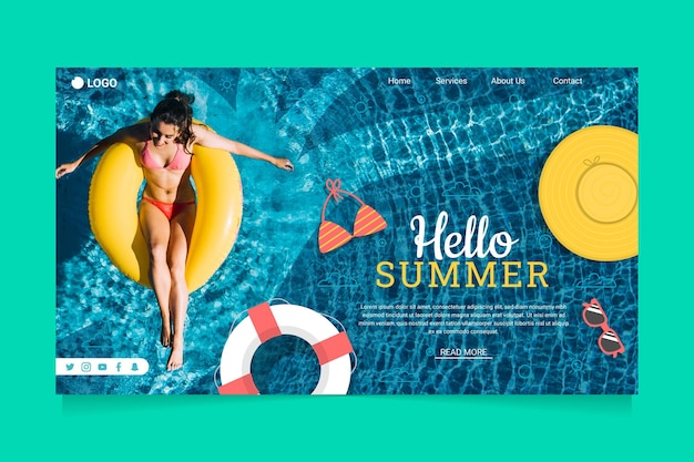 Hello summer landing page with woman in the pool