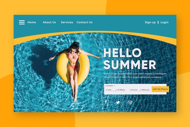 Hello summer landing page with woman in pool