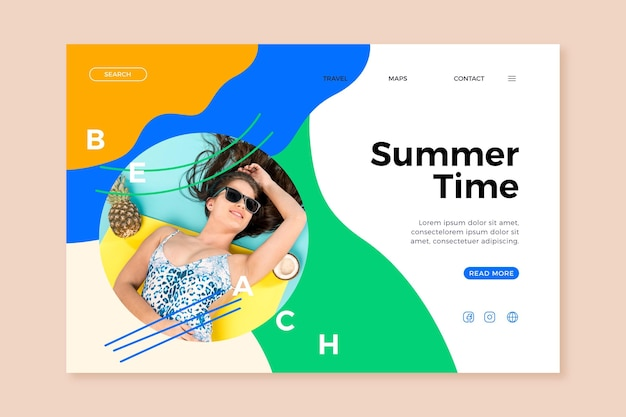 Hello summer landing page with woman at pool