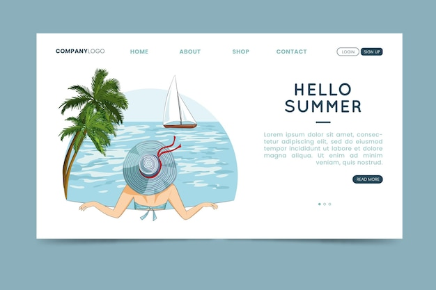 Hello summer landing page with woman in water