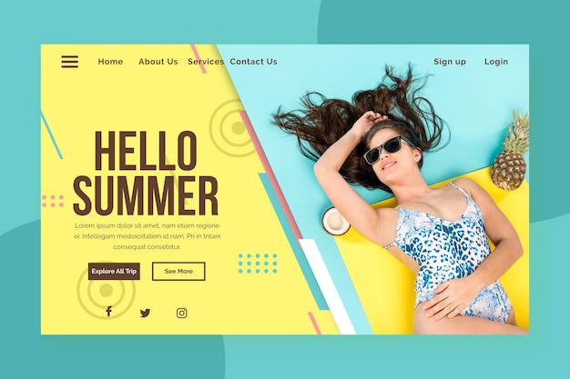 Hello summer landing page with woman on water