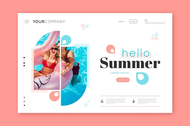 Hello summer landing page with women at the pool
