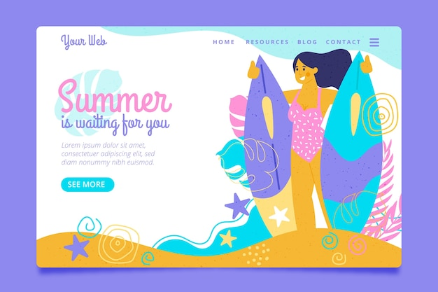 Hello summer landing page woman and surf boards