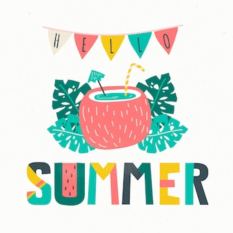 Hello summer lettering background