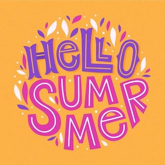 こんにちは夏のレタリングの背景