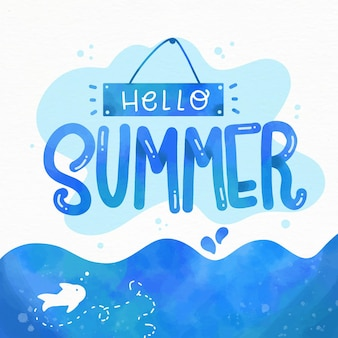 Hello summer lettering concept