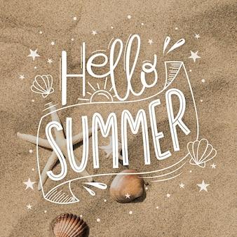 Hello summer lettering design
