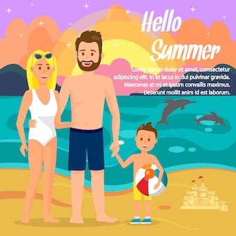 Hello summer lettering flat color travel postcard