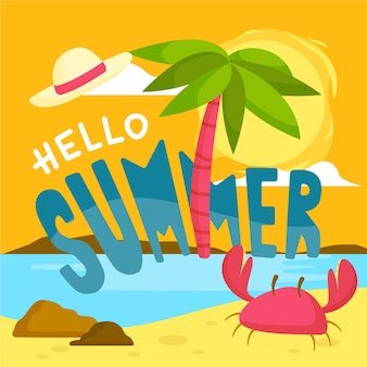 Hello summer lettering illustration