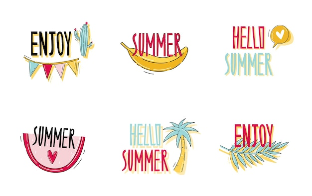 Привет, лето, надписи в стиле каракули и туристическая наклейка с фруктами