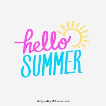 안녕하세요 여름 글자 손으로 그린 스타일