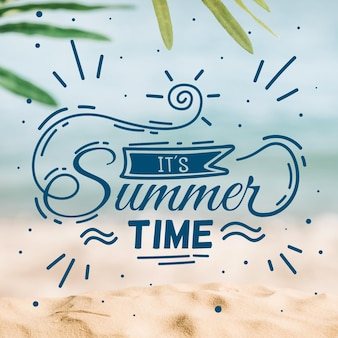 Hello summer lettering message concept