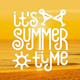 Hello summer lettering message design