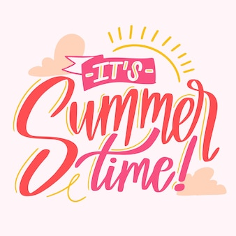 Hello summer lettering message style