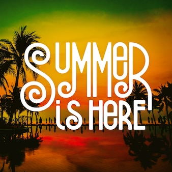 Hello summer lettering message theme