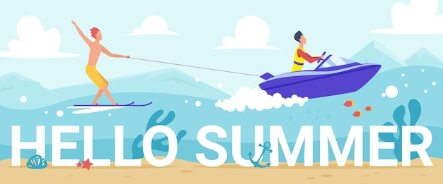 Hello summer lettering people water skiing in waves of tropical sea riding waterski Premium Vector