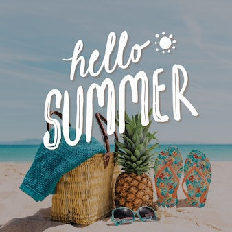 Hello summer lettering pineapple and slippers