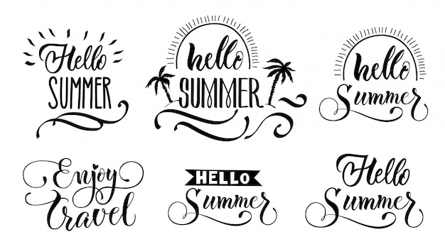 Hello summer lettering set