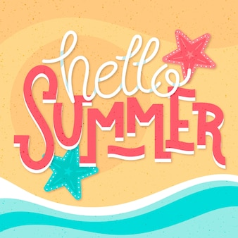 Hello summer lettering and starfish