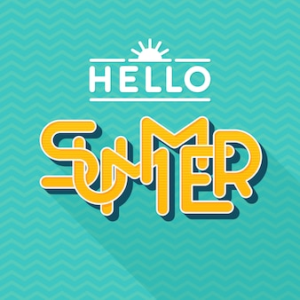 Hello summer lettering.  style . letters with long shadow.  illustration. template for banner, poster, flyer, card, postcard, cover, brochure.
