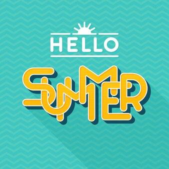 안녕하세요 여름 글자. 스타일. 긴 그림자가있는 편지. 삽화. 배너, 포스터, 전단지, 카드, 엽서, 표지, 브로셔 템플릿.