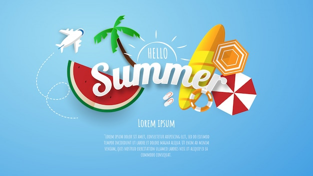 Hello summer lettering and text template