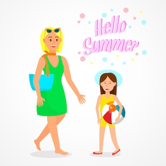 Hello summer lettering travel poster, postcard.