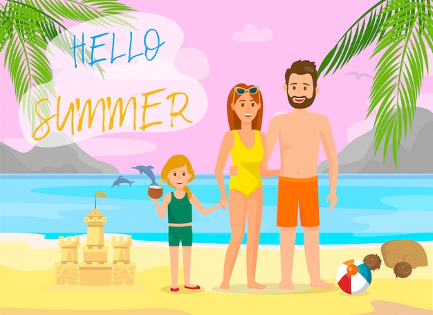 Hello summer lettering vector color travel banner.