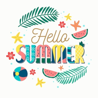 Hello summer lettering wallpaper