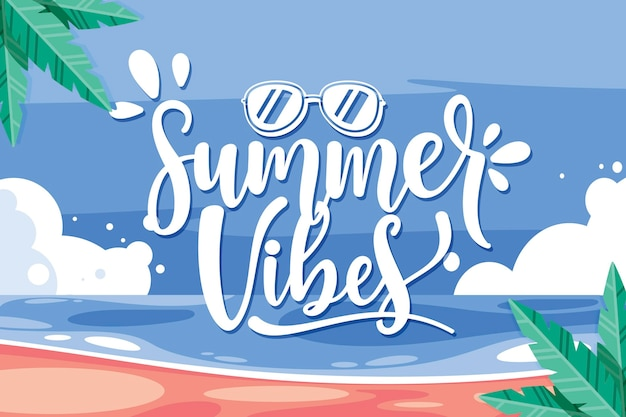 Hello summer lettering with beach and palm trees