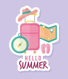 Hello summer lettering with bundle of summer icons illustration design