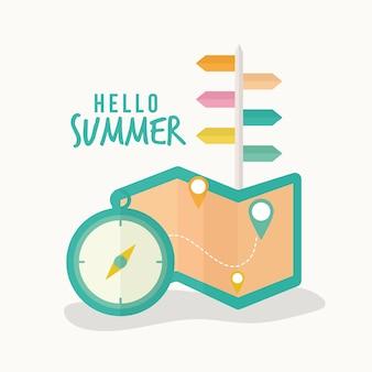 こんにちは夏のレタリングコンパスと地図のイラストデザイン