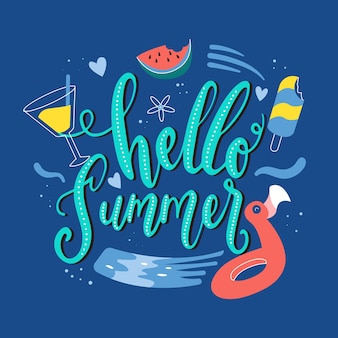 Hello summer lettering with floaties and ice cream