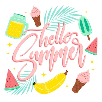 Hello summer lettering with ice cream