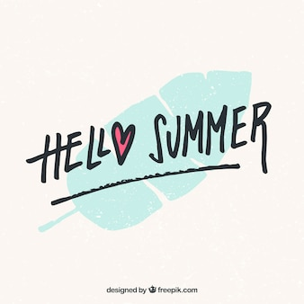 Hello summer lettering with leave in hand drawn style