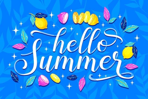 Привет лето надписи с лимоном
