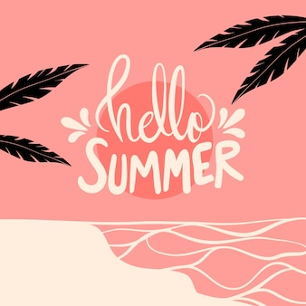 Hello summer lettering with palm trees Free Vector